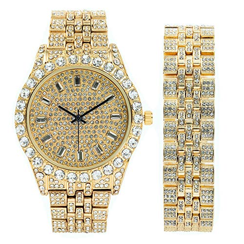 Mens Watch w/Matching Iced Look Bracelet Rolly Hip Hop Metal Timepiece - Big Rhinestones on Trim and Elegant Baquette Time Indicators on Dial - Master Bling Designer - ST10226BGS (Gold)
