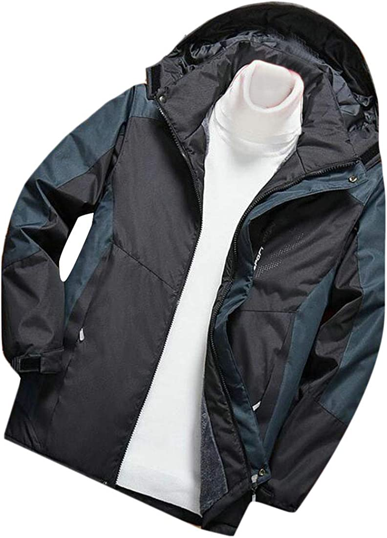 Wopop Mens Thicken Mountain Contrast Colors Ski Hooded Wool Lined Parka Jackets Coat