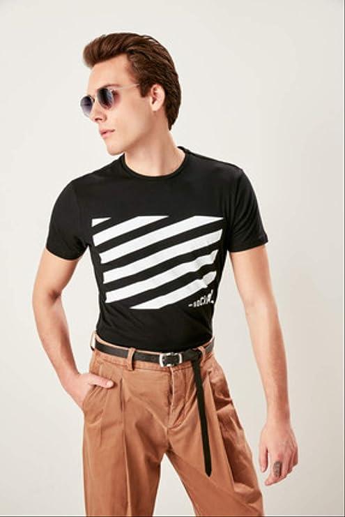 LFNANYI Sudadera de algodón cómodo de Manga Corta para Hombre Hombre Camiseta Negra Ajustada de los Hombres: Amazon.es: Deportes y aire libre