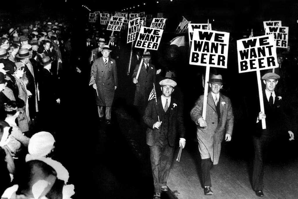 We Want Beer Signs Protest Against Prohibition Retro Vintage Black and White Photo Drinking Cool Wall Decor Art Print Poster 36x24
