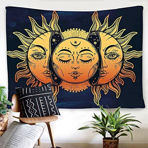 BLEUM CADE Psychedelic Tapestry Indian Moon Sun Many Fractal Faces Tapestry Celestial Energy Mystic Tapestries Wall Hanging Tapestry Bedroom Living Room Dorm (51.2