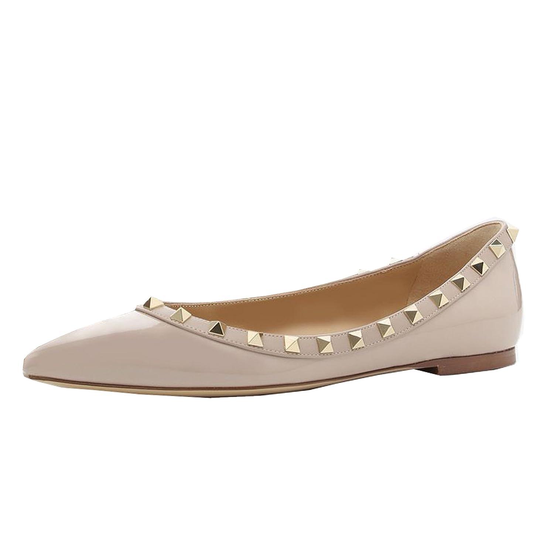 Lutalica Frauen Stilvolle Nieten Tägliche Lässig Nackt Spitze Ballerinas Flache Schuhe Nackt Lässig Patent 34a7d2