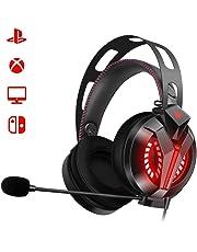 Combatwing Auriculares Gaming para PS4 PC con Micrófono, Cascos Gaming de Diadema Sonido Estéreo Cancelación de Ruido 3.5mm Jack con Luz LED para Juegos Compatible con PC Xbox One, PS4,Móvil