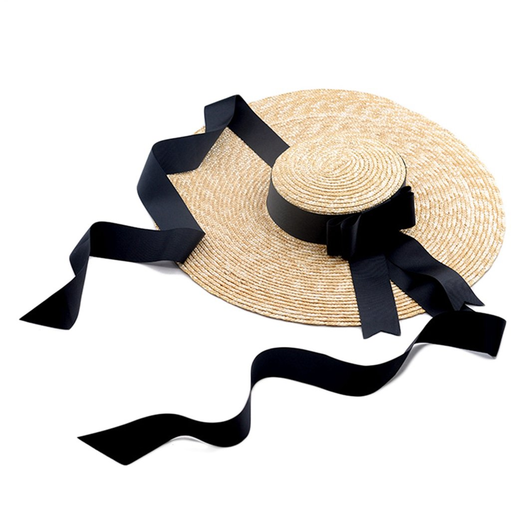 Black Ron Billy Womens Wide Brim Straw Boater Hat Beach Vintage Summer Sun Hats