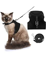 HOMIMP Escape Proof Cat Harness and Leash for Walking, Adjustable Soft Vest Harness for Cats Black Small