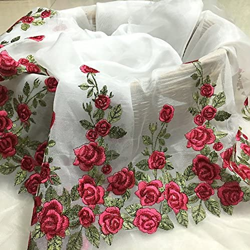 Lace Crafts - African Lace Fabric,Lace Fabric,Floral Organza Fabric,Rose Embroidered Fabric Dress DIY Clothing Accessories