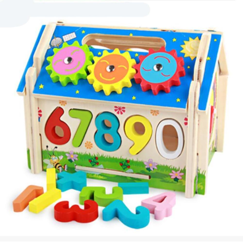 YINGER Bola de golpe de rompecabezas para niños Casa Digital Emparejamiento cognitivo Caja de Inteligencia Juguetes educativos de madera de la niñez , 2