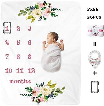 Premium Soft Plush Fleece Bonus Wreath Marker Ideal Baby Shower Gift Baby Milestone Blanket Perfect Photo Props Cute Flower Design Newborn Boys /& Girls Monthly Blanket by Natural Think