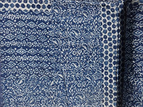 Sophia Art Indian Blue Indigo Color Hand Block Rural Pure Printed Kantha Quilt, Queen Size Patchwork Cotton Bedspread, (Blue)