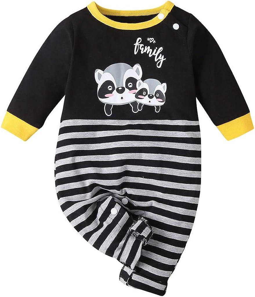 FAMOORE Toddler B/éb/é Grenouill/ère Nouveau n/ée B/éb/é Baby Les Filles Gar/çons Ray/é Dessin anim/é Barboteuse Combinaison v/êtements Tenues Barboteuse Pyjamas Combinaison Jumpsuit Mignon V/&eci