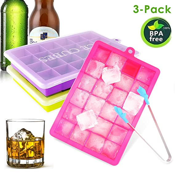 CAVN Silikon Eiswürfelform [3-Stück], 3 X 24-Fach Eiswuerfel Form Mit Deckel & Clip Ice Tray Ice Cube, BPA-frei, Eiskugelform