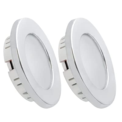 Dream Lighting Under Cabinet LED Lighting 12 Volt 2W Cool White Silver Shell Recessed Downlights for RV Motorhome Camper Trailer Pack of 2: Automotive