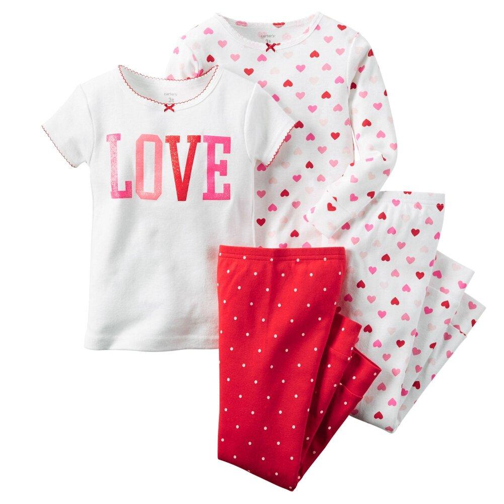 Carters Baby Girls 4-Piece Snug Fit Cotton PJs Love Multi Hearts 12M