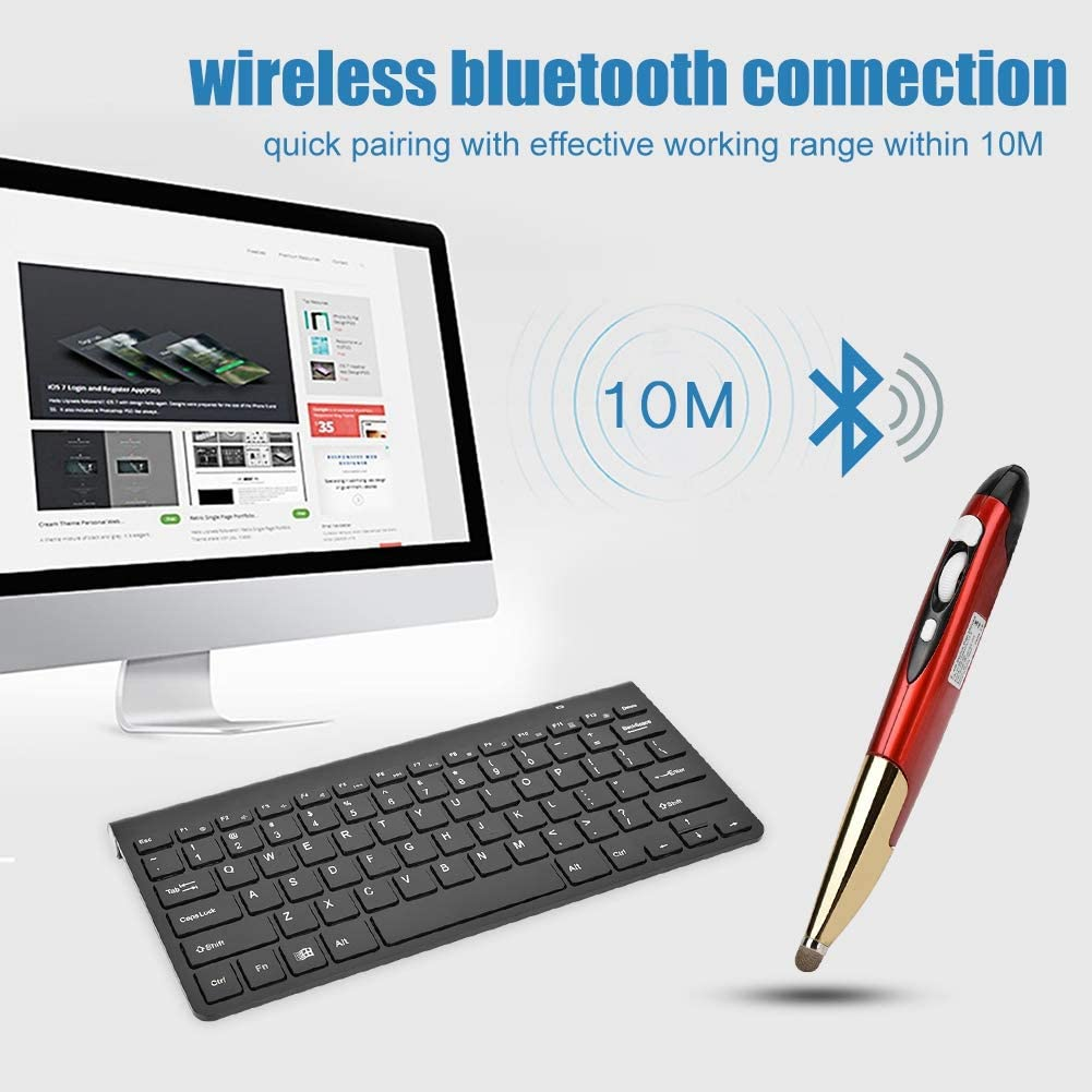 Black+Grey Bewinner Slim Mini 2.4G Wireless Keyboard with Mouse Pen for Notebook//Desktop Computer//STB,Ultra Slim Keyboard and Pocket Mouse
