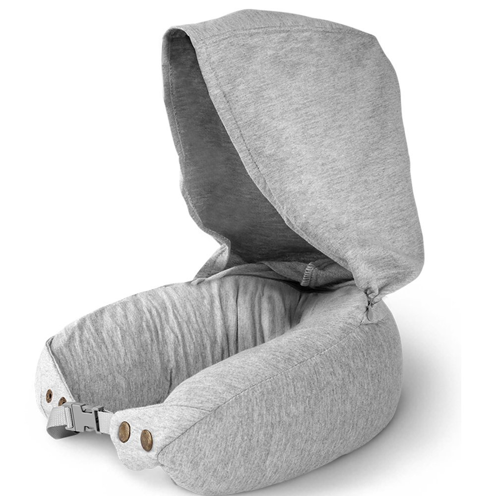 Natural Latex Travel Pillow for Airplanes- Airplane Neck Pillows Travel with Ultra Comfort for using in Airplane, Car, Train Office – Anit-Mite Travel Neck Pillow with Hood 2 in 1 Hoodie