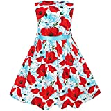 KJ63 Girls Dress Red Flower Belt Summer Beach Dress Age 6 Years