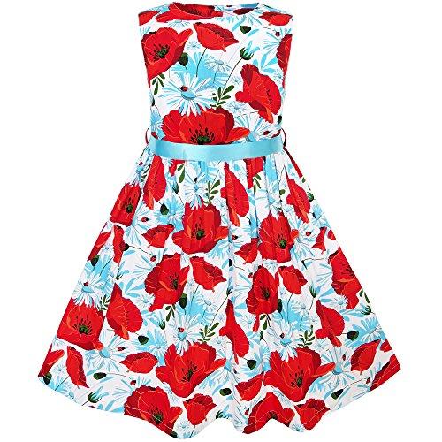 KJ64 Girls Dress Red Flower Belt Summer Beach Dress for sale  Delivered anywhere in USA