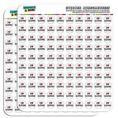 I Love Heart Sloths 1/2&Quot; (0.5&Quot;) Planner Calendar Scrapbooking Crafting Stickers -
