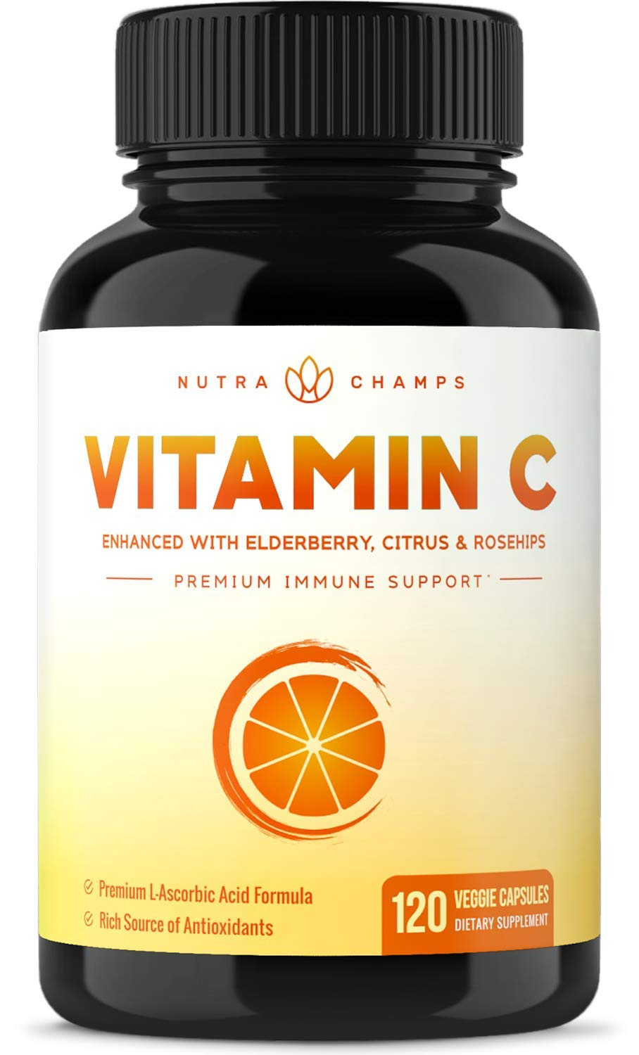Premium Vitamin C 1000mg with Elderberry, Citrus Bioflavonoids & Rose Hips - 120 Capsules Vegan, Non-GMO Antioxidant Supplement for Immune Health & Collagen Production, 500mg Powder Pills by NutraChamps