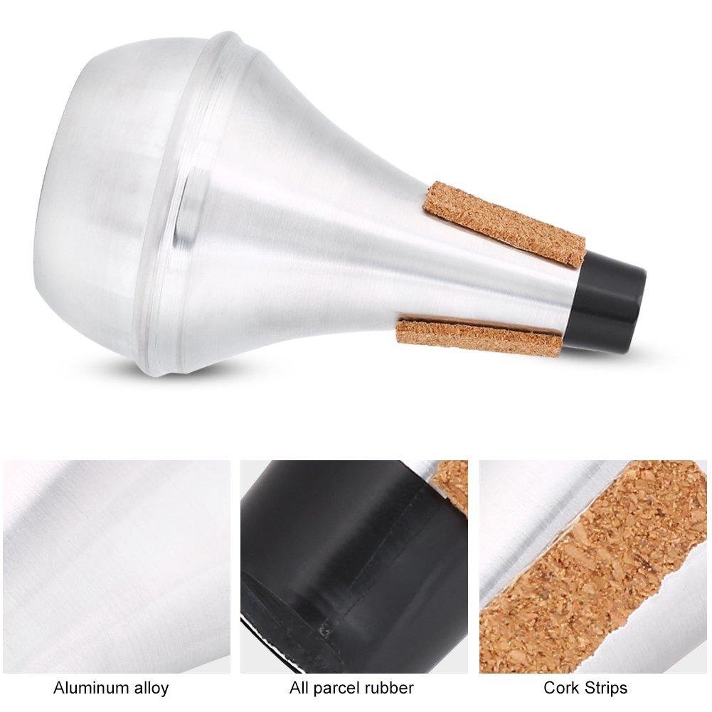 Dilwe Trumpet Mute Cork Strips Aluminum Alloy Practice Trumpet Cornet Mute Silencer