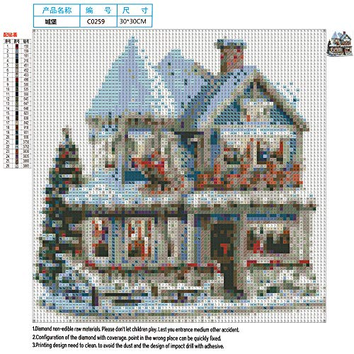 Diamond Embroidery Ankola Christmas Santa Claus Castle 5D DIY Diamond Painting Embroidery Round Diamond Home Decor Gift 30x30cm (30X30cm, Multicolor) by Ankola-Diamond Painting Kits (Image #3)