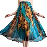 Ashir Aley Peacock Printed Long Chiffon Maxi Skirt, Medium Petite, Blue