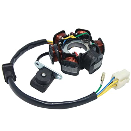 amazon com: ac 6 pole coil ignition stator magneto for 50cc 70cc 90cc 110cc  125cc scooter moped atv quad buggy go kart kazuma: automotive