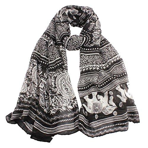 Elephant Apparel - Clearance! Coromose Womens Elephant Print Long Scarf Shawl Wrap Pashmina (Black)