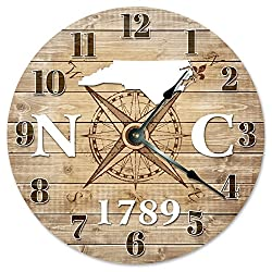 NORTH CAROLINA CLOCK Established in 1789 Huge 15.5 to 16 COMPASS MAP RUSTIC STATE CLOCK Printed Wood Image
