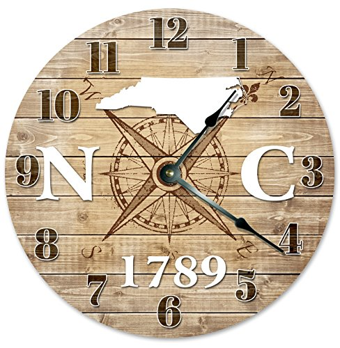"NORTH CAROLINA CLOCK Established in 1789 Decorative Round Wall Clock Home Decor Large 10.5"" COMPASS MAP RUSTIC STATE CLOCK Printed Wood Image"