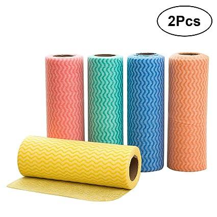 BESTOMZ 2 Piezas 20x30cm Toallas Desechables de Limpieza Rollos de Tela de Limpieza (Color Aleatorio