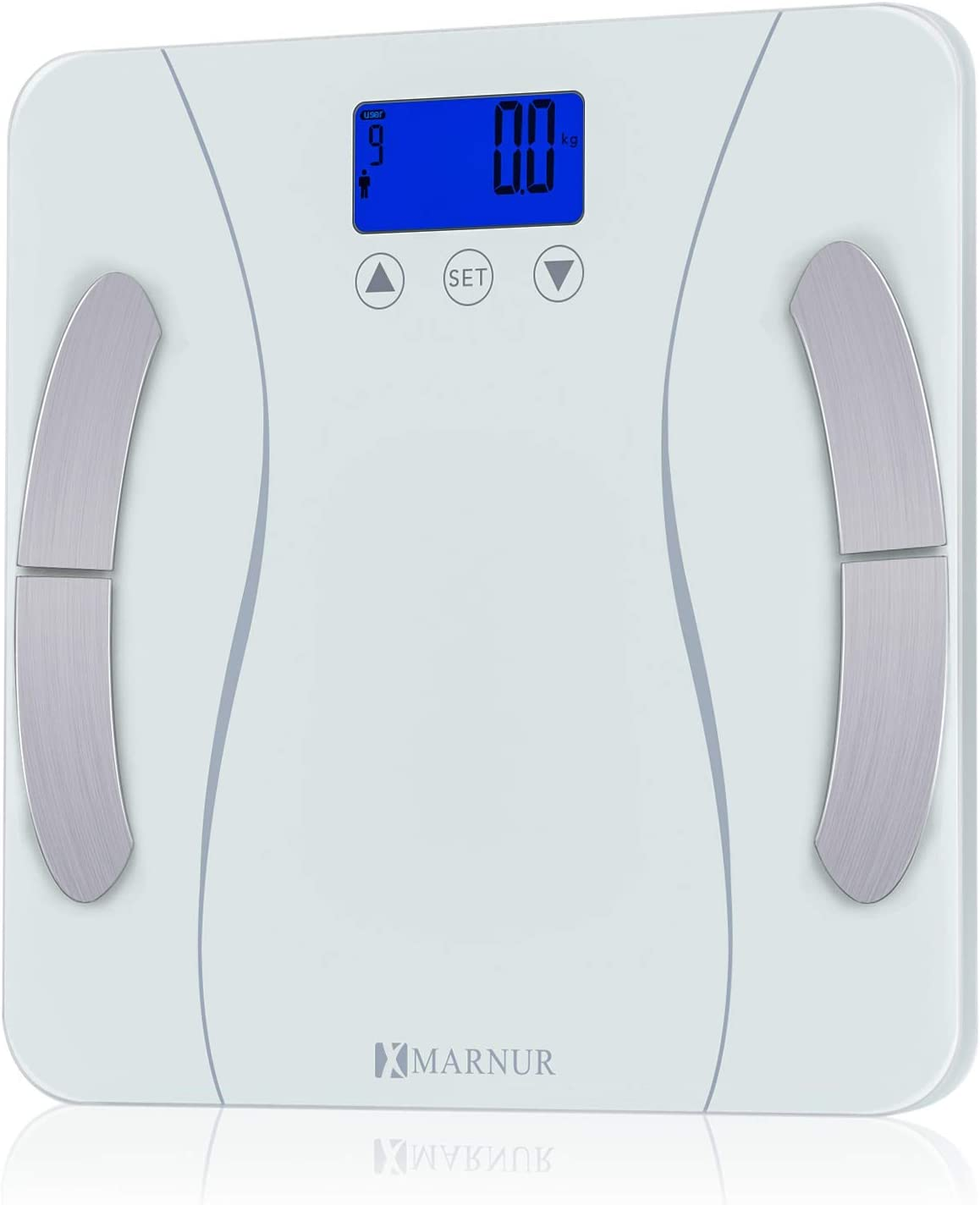 MARNUR Bathroom Weight Scale Body Fat Scale BMI Smart Digital Scale with Body Composition Analyze Monitor 400 pounds Body Tape Measure Included