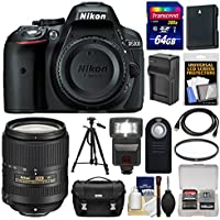 Nikon D5300 Digital SLR Camera Body (Black) with 18-300mm VR Lens + 64GB Card + Case + Flash + Battery/Charger + Tripod Kit Benefits Review Image