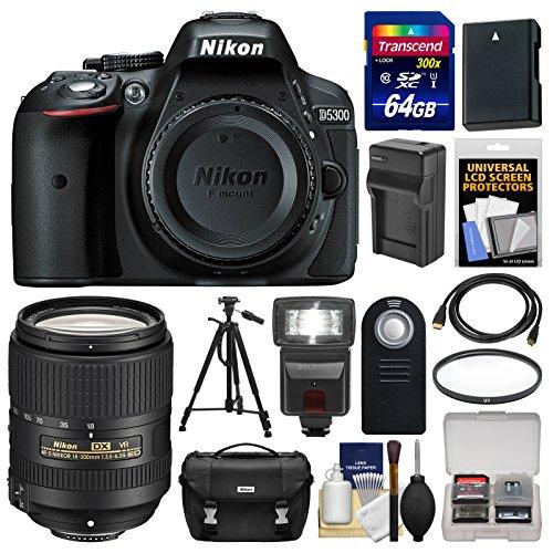 nikon-d5300-digital-slr-camera-body-black-with-18-300mm-vr-lens-64gb-card-case-flash-battery-charger
