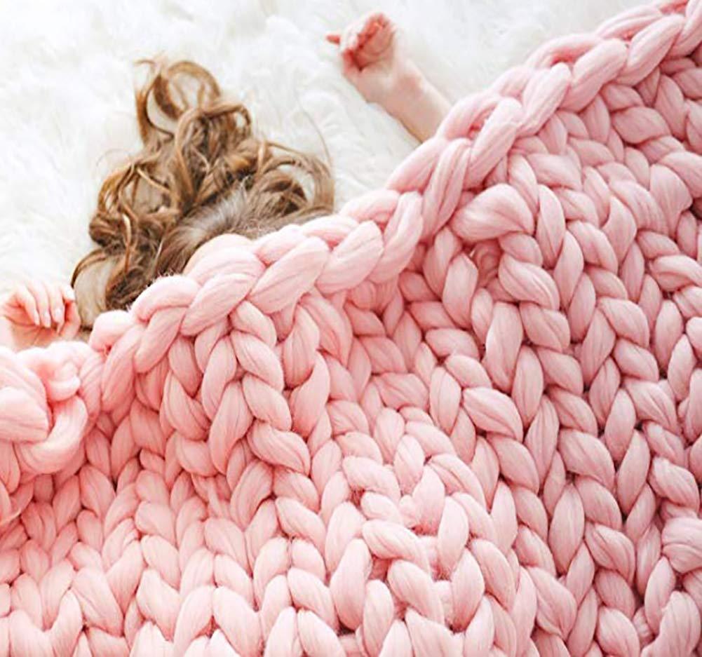 Ruber Main Chunky en Tricot De Laine /Épaisse Couverture /À Tricoter Salle De S/éjour en Vrac Jeter Couverture Douce Amoureux Cadeaux,Beige,50 * 50cm
