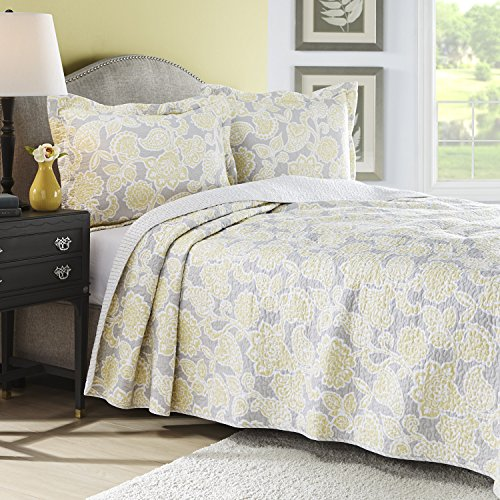 Laura Ashley Joy Reversible Quilt Set, Twin, Gray