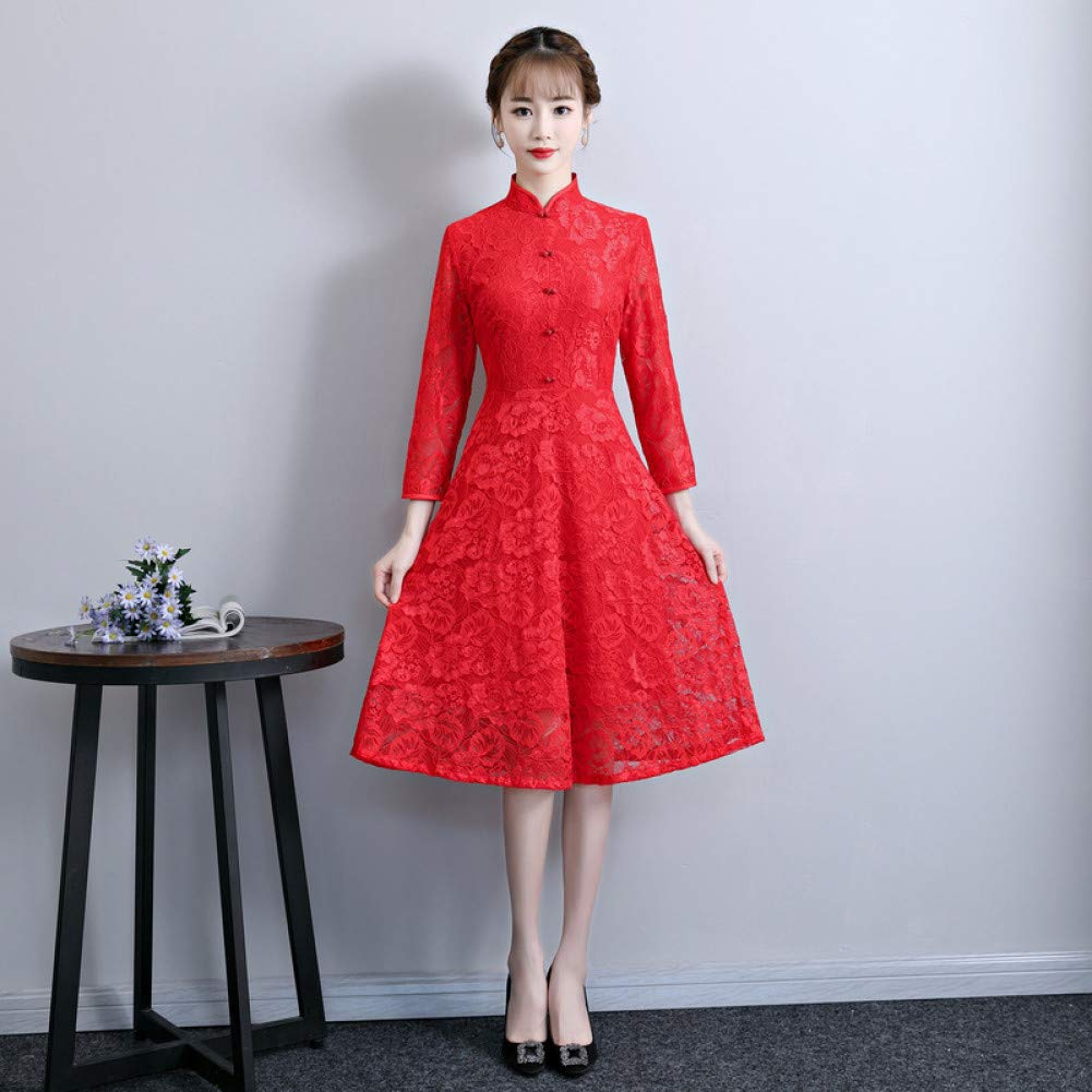 Bambine e ragazze Qingxi Ragazza migliorata Cheongsam del Merletto della Ragazza nelle gonne Lunghe delle Sorelle del Vestito Dimagrante della Signora delle gonne Lunghe Abbigliamento sportivo
