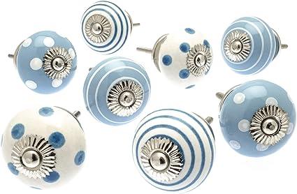 SUPERBE peint main en céramique porte//tiroir//Bouton//Poignée-Bleu /& Blanc