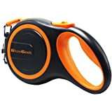 GlowGeek Retractable Dog Leash, 16 ft Dog Walking Leash for Medium Large Dogs up to 110lbs, Tangle Free, One Button Break & Lock , Lifetime Replacement Guarantee. Retracts 0-16ft - Orange