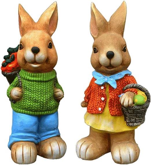 SDBRKYH Jardín Escultura de Conejo, Conejo de Dibujos Animados Estatua jardín decoración Accesorios jardín Escultura Animal decoración artesanía de Resina 2PCS: Amazon.es: Hogar