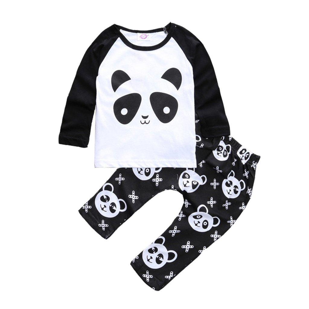 Baby Boys and Girls 2 Piece Set Panda Pattern Printing Shirt with Pants