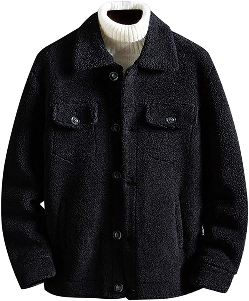 wuliLINL Men's Winter Warm Shearling Sheepskin Jacket Parka Luxury Faux Fur Collar Hooded Thicken Short Coat 61z-4f5HHkL