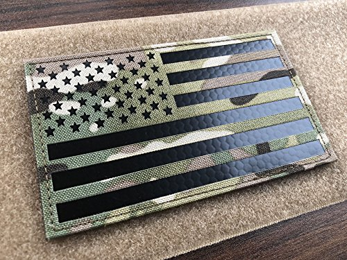 (5x3 inch Large Multicam Infrared IR US USA American Flag Patch Tactical Vest Patch Hook-Fastener Backing (5