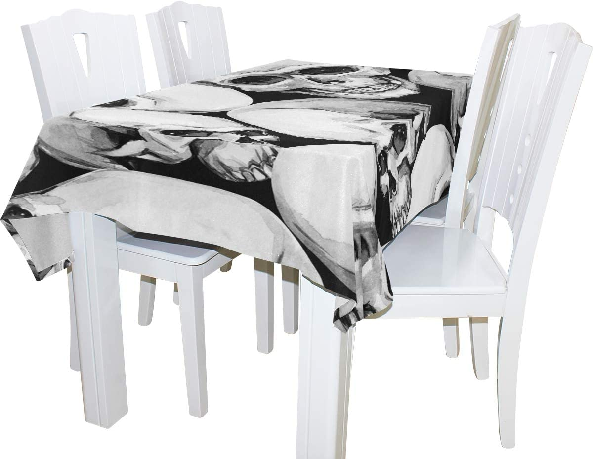 JHSH Bureau Nappe Polyester T/ête De Mort Rectangulaire Pique-Nique F/ête D/écoration D/écoration Bureau130x220cm