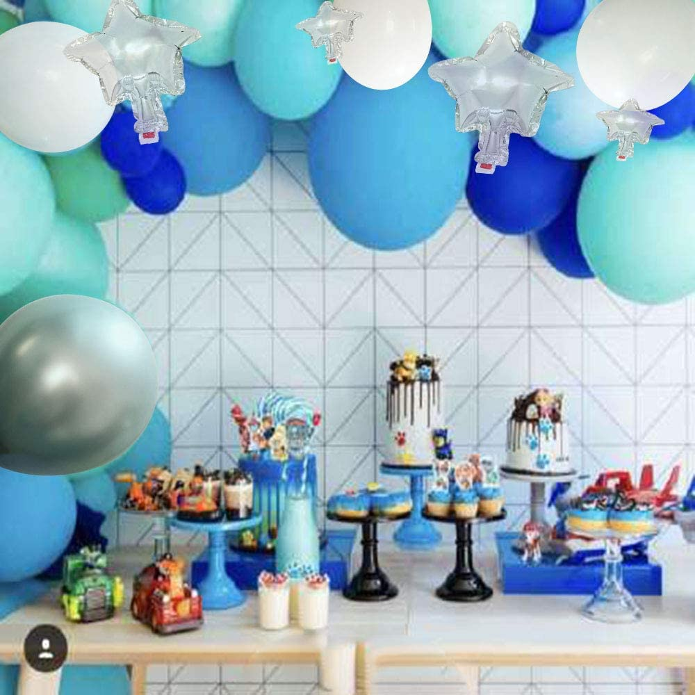 Balloon Garland Arch Kit 16Ft Long 119 Pack Blue White Silver Latex Balloons Strip Set For Baby Shower Birthday Party Centerpiece Backdrop Background Decorations