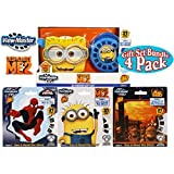 """Basic Fun View-Master Classic 3D Adventures """"Despicable Me 2"""" (Minions) Viewer with Story 2 Deluxe Gift Set Bundle with """"Star Wars"""", """"Spider-Man"""" & """"Despicable Me 2"""" Story 1 Reels - 4 Pack"""