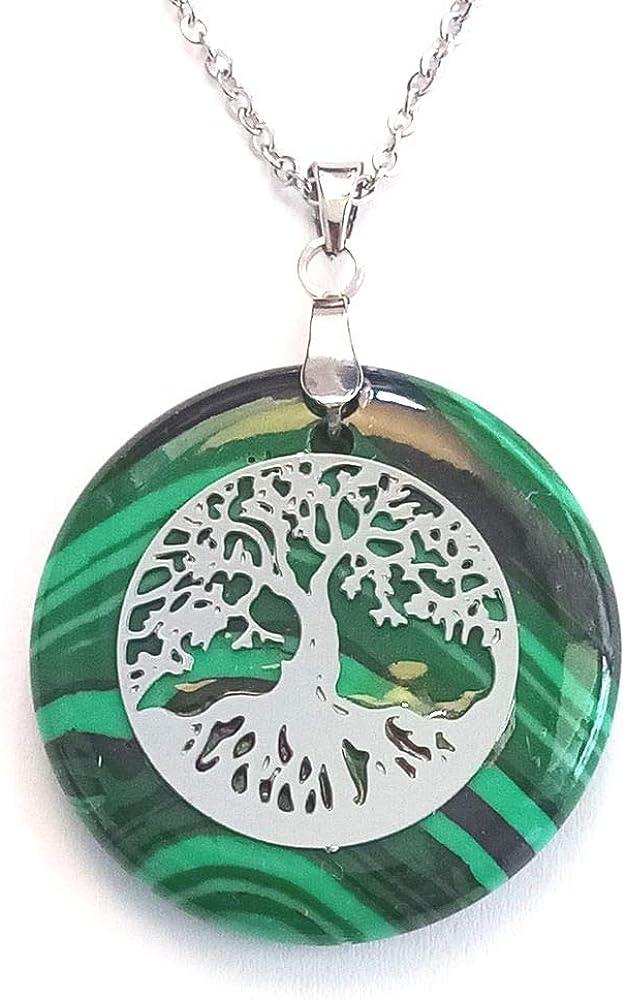 ARITZI - Colgante Redondo de Mineral Natural con símbolo de Árbol de la Vida en Acero - Incluye una Cadena de Eslabones de 50cm de Acero - Distintas Piedras semipreciosas
