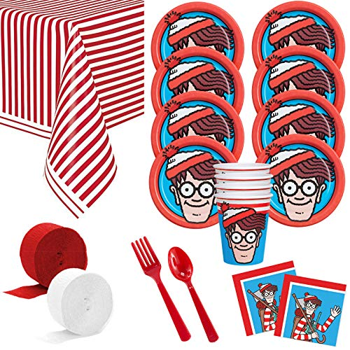 Costume SuperCenter Where's Waldo Deluxe Tableware Kit (Serves ()