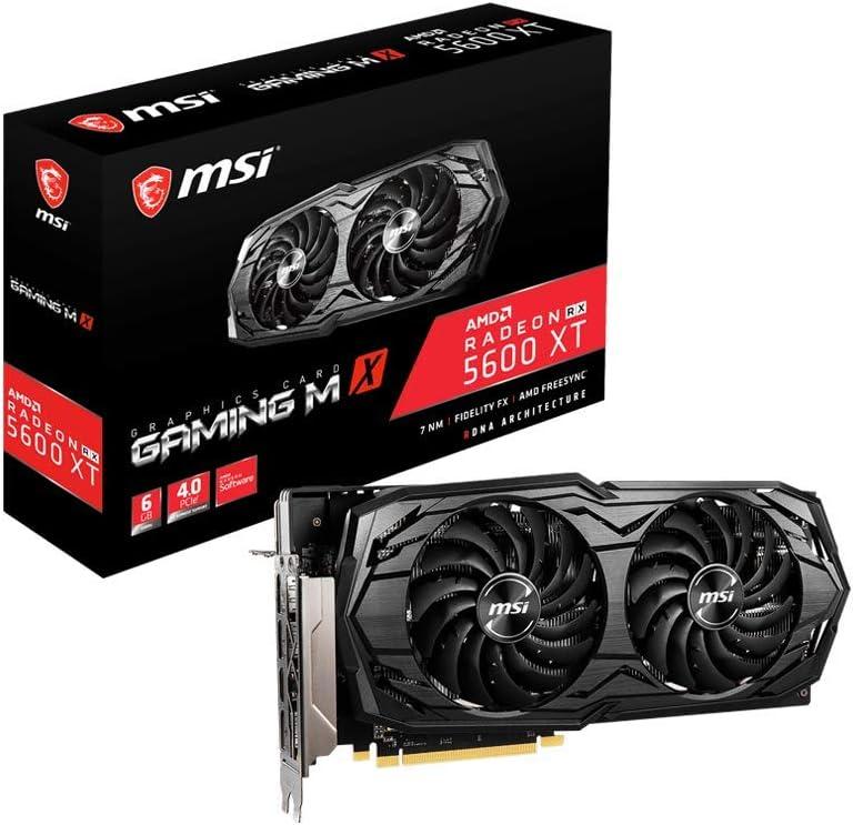 MSI Gaming Radeon RX 5600 XT Boost Clock: 1620 MHz 192-bit 6GB GDDR6 DP/HDMI Dual Torx 3.0 Fans Freesync DirectX 12 Ready Graphics Card (RX 5600 XT Gaming MX)