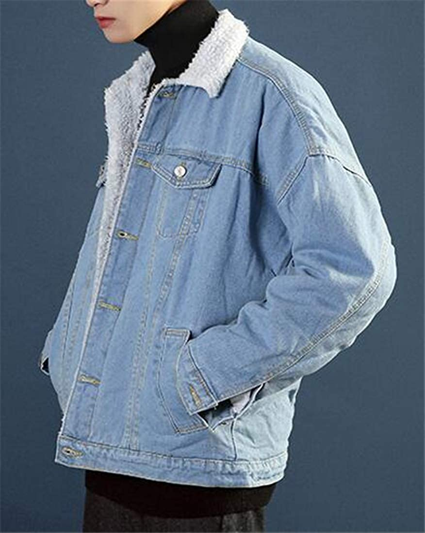 Etecredpow Men Fleece Hoodid Fleece Faux Fur Lined Quilted Pocket Jacket Anoraks Parka Coat